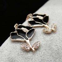 Free shipping++18K Rose Gold Flower camellia shape earrings/Drop Earring/austrian Rhinestone  fine jewelry