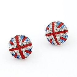 E118Noble ? Luxurious ? Fashion? Olympic Games Crystal rhinestone Lovely British flag Earrings Jewelry AAA!!! Free Shipping!(China (Mainland))