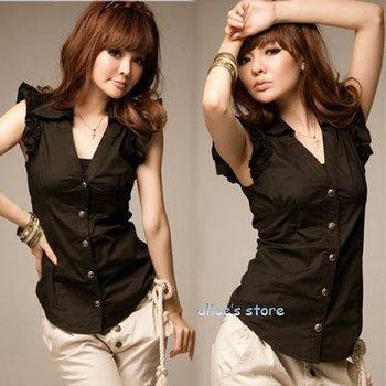 2012 new ladies black lapel Slim shirt