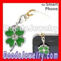10pcs/lot Enamel Four Leaf Clover Plugy Earphone Jack Accessory For smart phone Free Shipping
