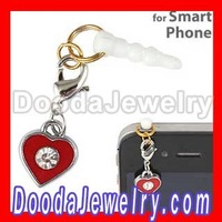 10pcs/lot Enamel Heart Charm Beads earphone jack plug stopper for smart phone Free Shipping