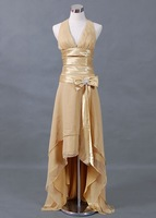 Free Shipping!halter with bows front short back long champange short custom-made bridesmaid dresses