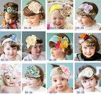 free shipping baby kids western style headband beanie toddler cute silk flower headband bows Hair Accessories HOT