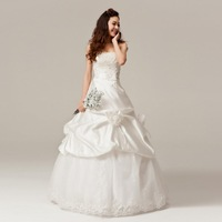 Free Shipping Best Selling Sweet Princess Crystal Lace Up Strapless Bridal Wedding Dresses Wholesale/retail