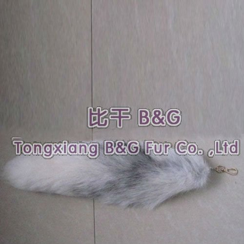 BGtail 009 2013 White Genuine Cheap Fox Fur Tail Key Chain Winter Ladies Key Ring Lovely OEM Wholesale/Retail/Free shipping(China (Mainland))