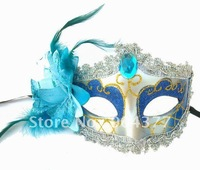 Feather Masks For Masquerade Balls Lace Plastic Acrylic diamond Venetian High quality Mask For Sale 10pcs/lot mix Free