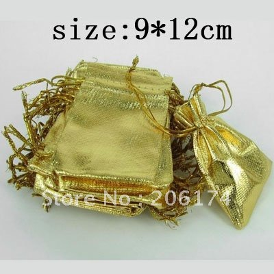 HOT~Factory promotional price Free Shipping Wholesale 9.12cm Gift Shopping Bags Gold Gauze Cloth Packing Pouches(China (Mainland))