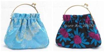 Free shipping! Wholesale 4 pcs Brocade Metal Handle Bags Snap Closure Tote Evening Purse handbag