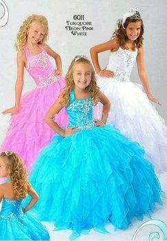 2012 Turquoise Girls Dress Pageant Wedding Dress custom size4 6 8 10 12 A4