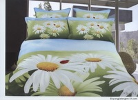 Hot Fashion New  Beautiful 100% Cotton 4pc Doona Duvet QUILT Cover Set bedding set Queen/  King size marguerite / daisy