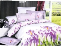 Hot Fashion New  Beautiful 100% Cotton 4pc Doona Duvet QUILT Cover Set bedding set Queen/  King size  Purple style flower