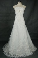 Real Pictures!strapless beaded appliques sash court train tulle custom-made designers wedding dresses