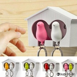 Free Shipping / New supper cute couple sparrow key ring with whistle/ have big bird&#39;s nest hang on the wall / 2 birds per set(China (Mainland))
