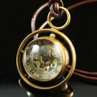 Steampunk Style BRASS Glass Ball Orb SPHERE  Mechanical POCKET Watch Necklace