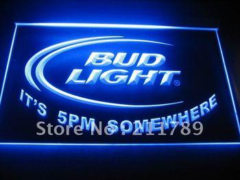 B0532 Bud Light It's 5 pm Somewhere Bar Neon Light Sign