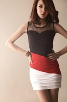 2012 Hot black and white red tri-color package hip vest skirt dress