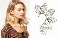 2014 hot selling New Punk Rock Silver Metal Filigree Leaf Ear Cuff for women Free Shipping E1-076