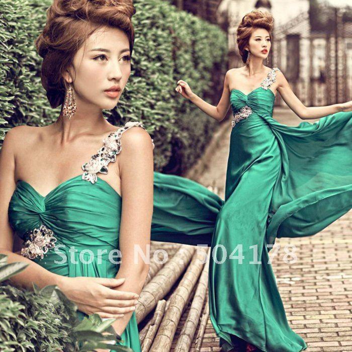 Green Bridal Evening Dress Dinner Banquet Short Design Dress Free