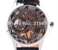 See Through Silver Tone Hollow Skeleton Wind Up Mechanical Men's Wrist Watch