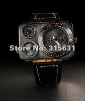 Elegant Dual Time Zone Black Dial Men's Quartz Military Aircraft Wrist Watches
