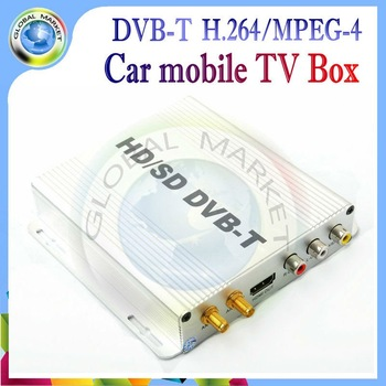 Auto Mobile DVB-T MPEG4 Car Mobile HD/SD Digital TV Receiver Box DVB T Tuner fit for EU car DVD connect via AUX in freeshiping
