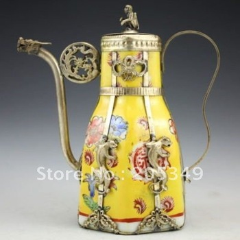 Chinese Graft Tibet Silver Porcelain Monkey Tea Pot