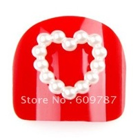 free shipping-1000pcs White Imitation Heart Shape Pearl Beads Nail Art Decoration /accessories