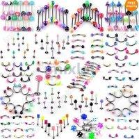 Wholesale 210pcs/lot  21Styles 316L Stainless Steel UV Barbell Piercing Button Body Piercing Jewelry(BA01-BA21m(210))