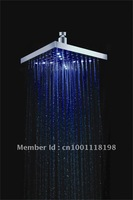 "Free Shipping 8"" inch ABS LED shower head with brass 200mm self-powered led shower head light shower three color -20501"