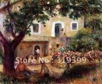 Free DHL Shipping,handmade,Oil Painting Reproduction,the farm By Renoir oil painting on linen canvas