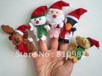 Christmas Gift Wholesale Free Shipping Baby Plush Toy/stuffed Toy,Christmas Animal Finger Puppets/Kids Finger Doll