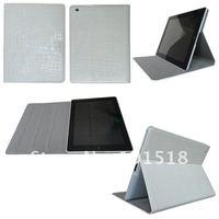 20pcs/lot leather case for ipad 3 Wake Up Sleep case for ipad 2 for new ipad Stand Smart Case Croco style+screen film