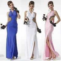 (Free Shipping)2012 New Design Elegant Slim V-Neck Bodycon Bandage Evening Dress/Gown,Color Blue,White,Pink,Black Supply