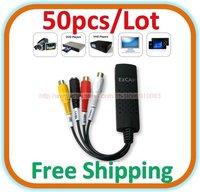 50pcs/lot USB 2.0 Easycap TV DVD VHS Audio Video Capture Adapter Converter