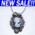 Luxury filigree Cameo silver Necklace new 2012 fashion jewelry vintage style nke-g71