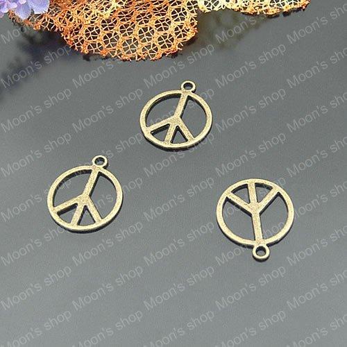 (21790)Alloy Findings,charm pendants,Antiqued style bronze tone Peace logo 50PCS(China (Mainland))