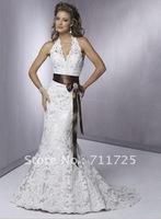 Classic Simple Summer Concise Mermaid Halter Bow Beadings Sash Corset Sheath White Lace Chapel Train Wedding Bridal Dresses