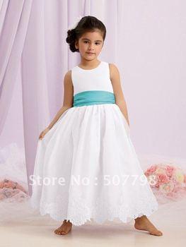 FedEx Freeshipping scoop satin pleated waistband cheap little princess flower girl dress, 2012 new style designer girl gown