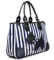 2013 Summer hotsale! free shipping navy stripe tote, canvas retro handbag, blue/white stripe, black/white stripe,1pc