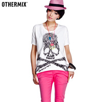 freeshiping OTHERMIX summer personalized skull print basic white short-sleeve T-shirt female 12a20164