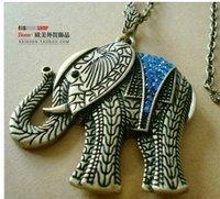 Vintage Elephant Blue Rhinestone Charm Pendant Necklace