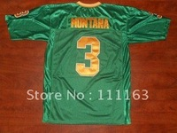 Wholesale - Free Shipping Norte Dame Fighting Irish 3# Joe Montana Green College Throwback Jersey size:48~56+Mix Order