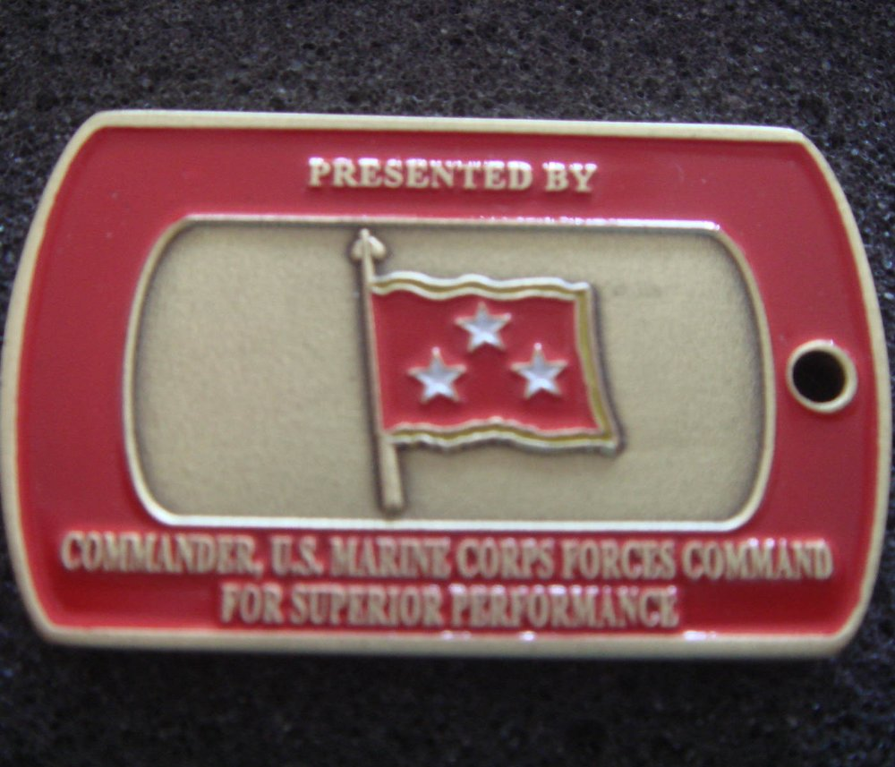 U.S. MARINE CORPS FORCES COMMAND 3 STARS RED FLAG DOGTAG SHAPE CUSTOM MILITARY COIN WHOLESALE 50pcs/lot(China (Mainland))