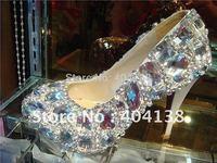 Drop shipping New handmade Platforms Sexy high heels shoes wedding Rhinestone Crystal women's Pumps plus size 34-42