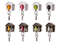 Free Shipping 16 pieces/lot Sparrow Key Ring with Birdhouse Keychain Gadget for Home Decoration