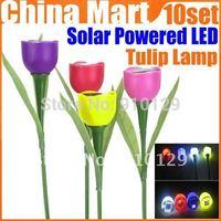 Outdoor Garden Light Solar Powered LED Tulip Home Landscape Flower Lamp Express 10set 40pcs