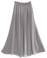 S2002 Gray color New Styles Women Chiffon Mopping the floor Long Skirt Elastic Waistband full linning chiffon skirt
