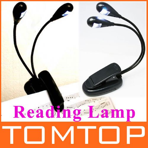 Fashion LED Reading Lamp Clip on 2 Dual Arms 2 LED Flexible Music Stand Book Light Reading Light Free Shipping(China (Mainland))