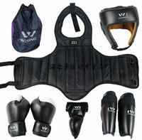 WESING Boxing Taekwondo Thai Boxing Sanshou Head Guard Helmet gloves Chest Shin Protector Chestguard Jockstrap 8 pcs/set