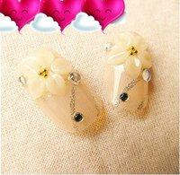 FREE SHIPPING ,new arrival,  3D design flowers elegant FALSE NAIL 24pcs/lot,artificial nails/  The bride wedding party